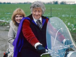 Jo Grant with Jon Pertwee on the Whocycle.