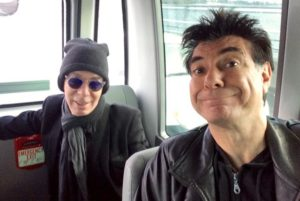 Dave Sterry & Maynard in the back of the tour bus very early in the morning.