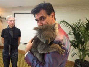 Maynard cuddles Honey the Koala while Dave Sterry waits his turn. Adelaide July 2016.