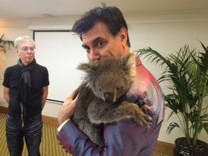Maynard cuddles Honey the Koala while Dave Sterry waits his turn. Adelaide July 2016.