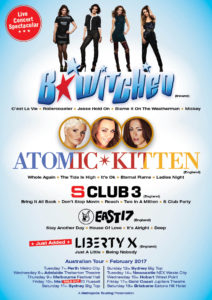 BWitched Atomic Kitten S Club 3 East 17 tour poster