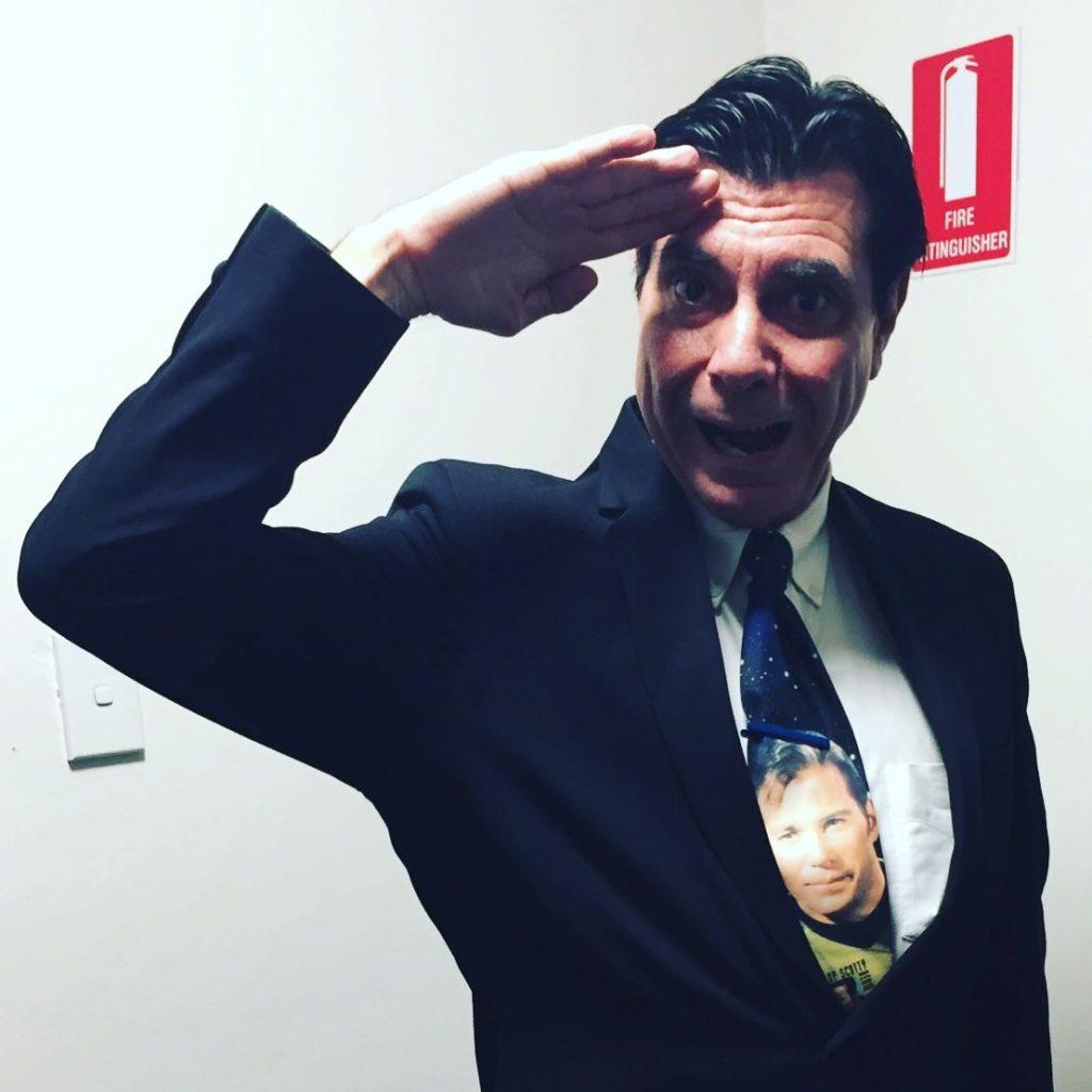 Maynard wearing his William Shatner tie for William Shatner live in Sydney.