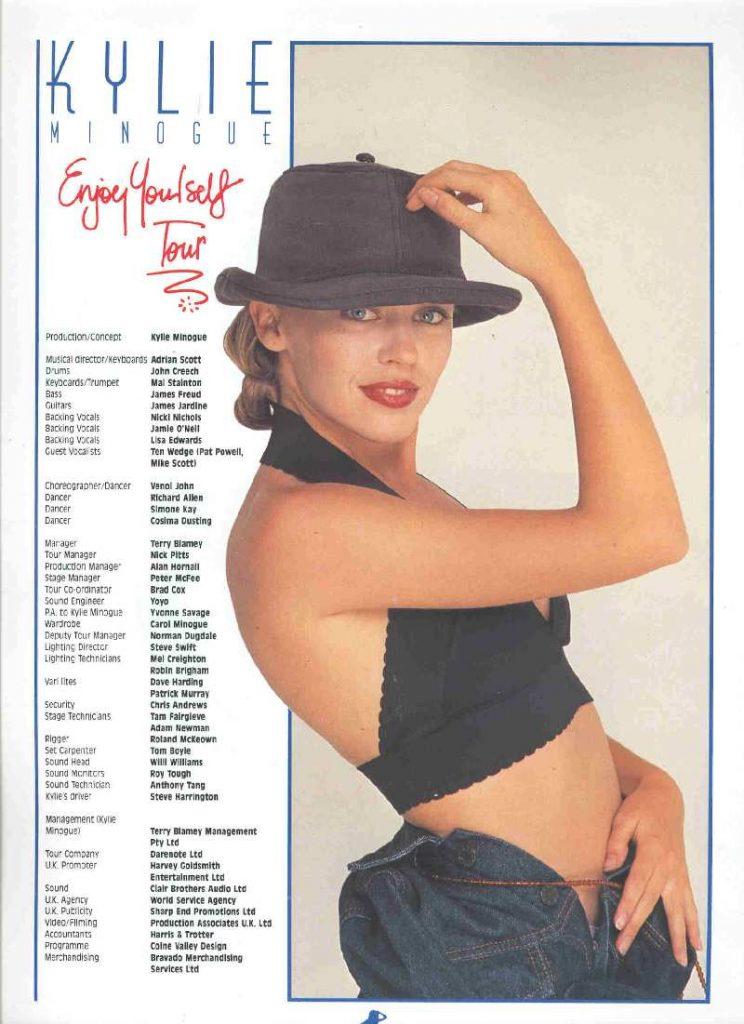 Kylie Minogue Enjoy Yourself tour crew list 1990