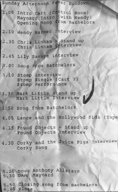 Sunday Afternoon Fever show rundown list 5.4.1992