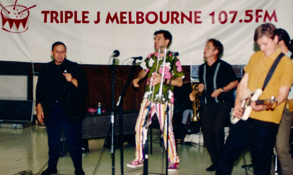 Bachelors From Prague with Maynard dancing. Triple J, Sunday Afternoon Fever, Melbourne Comedy Festival 1992