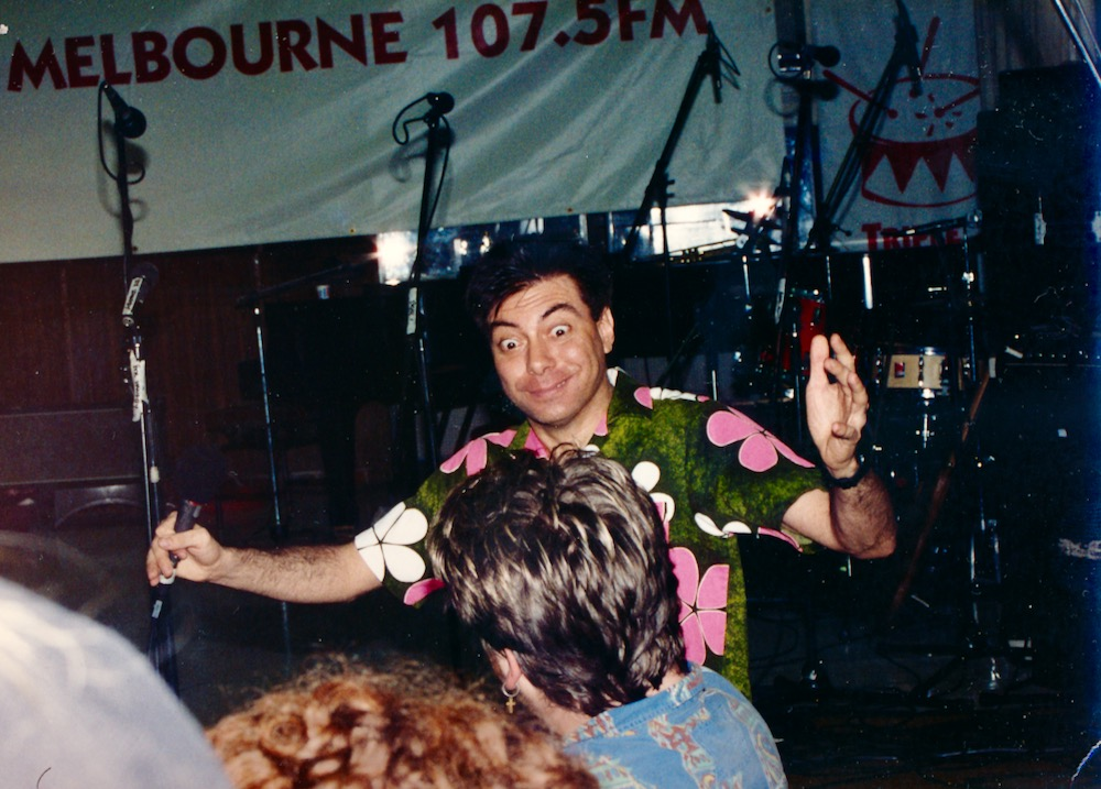 Maynard works the crowd. Sunday Afternoon Fever show. Triple J Melbourne Comedy Festival 1992